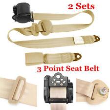 2 Sets Beige 3 Point Automatic Retractable Lap Seat Belt Universal Fit Seatbelt