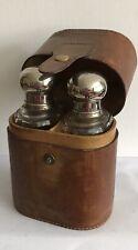 Vintage Leather Case Perfume Cologne Cut Glass Bottles