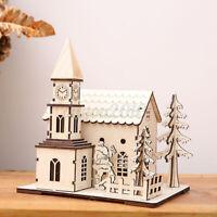 Christmas Ornamental Wooden Church Village Scene Pre-Lit LED Xmas Decoration