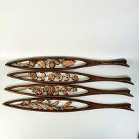 "Vintage Set of 4 Metal Mid-Century Sexton 4 Seasons Wall Art 26 1/2"" Long"