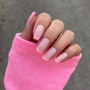 French Pink Tips Detachable False Nails Long Square Artificial Full Fake Nails
