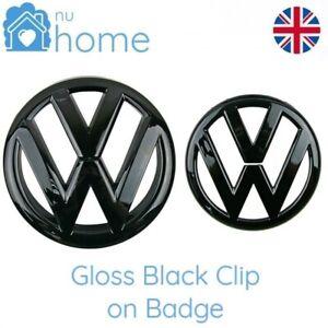 Gloss Black Front & Rear Badge Grill Boot Emblems Logo Set (Fits: VW Golf MK6)