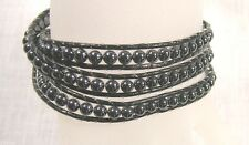 Black Leather and steel bead wrap Bracelet  23 inch length  FREE SHIPPING U.S.