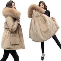 Ladies Women's Lined Faux Fur Collar Hooded Short Parkas Snow Coat Jacket Warm D