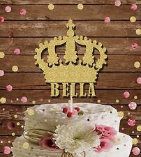 PRINCESS CROWN NAME GLITTER CAKE TOPPER BIRTHDAY PARTY CAKE DECORATION