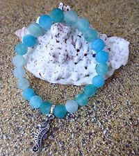 Blue Crackle Frosted Agate Gemstone Bracelet & Seahorse Charm Silver-Plated Surf