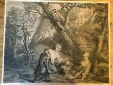 Etching of Lovers in Woods observed, 18th Century copper plate