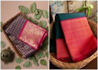 Indian Designer Saree Bollywood Kanchipuram Silk Sari Ethnic Party Wear New KP