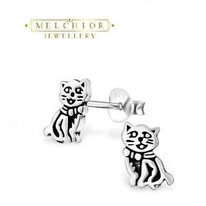 925 Sterling Silver CAT Stud Earrings Jewellery Gift Box