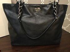 COACH Madison Leather Silver Chain Handbag Tote Purse 20466 Black Dust Bag