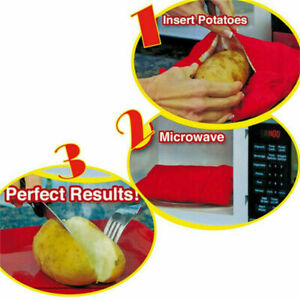 New Jacket Potato Bag 4 Minutes Microwave Express Cooker Reusable Washable