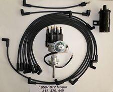 MOPAR 413-426-440 BLACK SMALL HEI Distributor + Black 45K COIL +Spark Plug Wires
