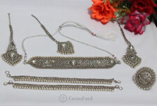 New Pakistani Indian Bollywood Bridal Jewellery set Choker Earrings Tikka Ring