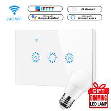 1 Gang Smart WiFi Touch Light Dimmer Switch Panel for Alexa Google+Free LED Lamp