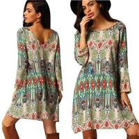 Womens Summer Vintage Boho Maxi Party Beach Dress Sundress Casual Short Dress AU