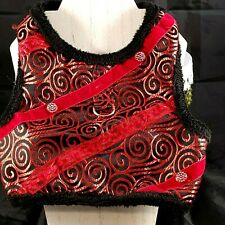 Doggie Design Boutique Red and Black Warm Dog Vest Sz L Rhinestone Embellished