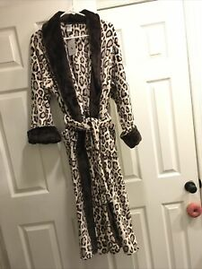 Last One Natori N Cozy Coziest Robe Plush XL Brown Collar Beige Leopard NWT Long