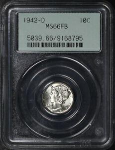 1942-D Mercury Dime PCGS MS-66 FB Old Gasket Holder