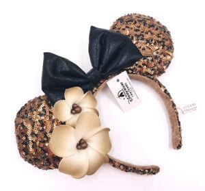 Disney Parks Aulani Hawaii Black Gold Plumeria Mickey Mouse Minnie Ears Headband