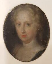 ORIGINALE 18th Secolo Ritratto in Miniatura Dipinto ad olio su metallo. 1700s Lady