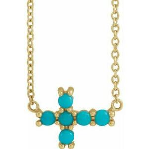 14k Yellow Gold Petite Turquoise Sideways Cross 18 inch Necklace