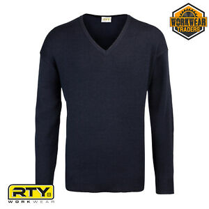 Mens Jumper Security Office V Neck Work Acrylic Top Knit Sweater Pullover RT020