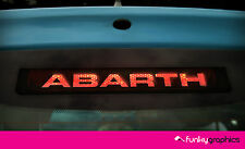 FIAT 500 ABARTH LOGO 3rd BRAKE LIGHT Decalcomania Sticker Graphic x 1 IN VINILE NERO