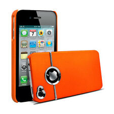 ORANGE & SILVER CHROME HARD CASE FOR IPHONE 4 4S4G With Screen Protector & Cloth
