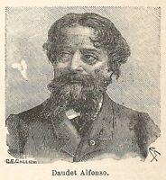 A6722 Daudet Alfonso - Stampa Antica del 1925 - Xilografia