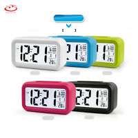 Digital Snooze LED Alarm LCD Clock Backlight Time With Calendar Thermometer NEW