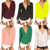 2019 Sexy Women's V-NECK Loose Long Sleeve Chiffon Casual T Shirt Tops Blouse