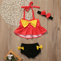 3Pcs Toddler Baby Girls Kids Swimsuit Swimwear Bathing Suit Tankini Bikini Sets