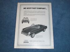 "1964 Amco Accessories MGB Sprite Mg Midget Vintage Ad ""We Keep Fast Company"""