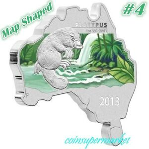 2013 Australia Map Shaped Series Platypus 1oz Silver Coin Mintage 6000 COA & Box