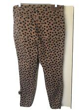 "Madewell Women's Size 32 10"" High Rise Skinny Brown Black Polka Dot Jeans EUC"