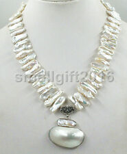 "17"" 25mm White Biwa Dens Freshwater Pearl Necklace Mabe Pendant"