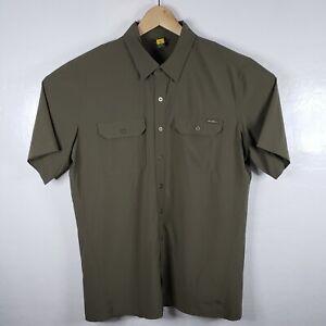 Eddie Bauer Travex Men's Large Tall Green Button up Short Sleeve Stretch Shirt