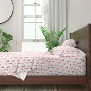 Candy Canes Holiday Christmas Festive 100% Cotton Sateen Sheet Set by Roostery