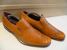 Vtg Oliver Sweeney tan full leather loafer UK 7.5 41.5 Stripe brown slip-on