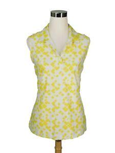 EUC Nike Dri-fit Women's Yellow White Golf Top Sleeveless Polo Shirt Size Large