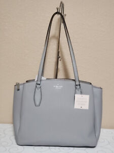 KATE SPADE MONET LARGE TRIPLE COMPARTMENT TOTE SHOULDER BAG GREY LEATHER