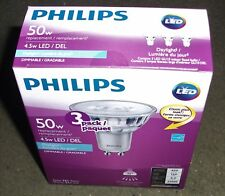 3 PACK PHILIPS GU10 FLOOD 5000K LED LIGHT BULB 4.5W=50W DAYLIGHT DIMMABLE 35˚