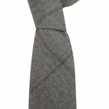 Luciano Barbera Italy Men's Taupe Gray Check Plaid 100% Wool Skinny Neck Tie