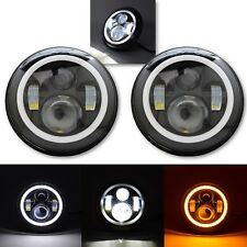 "7"" Black Projector HID 6500K LED Octane Headlight w/ White & Amber Halo Pair"