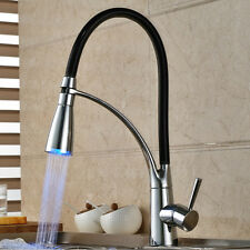 Modern LED Color Change Kitchen Sink Faucet Chrome Brass Pullout Spray Tap Mixer