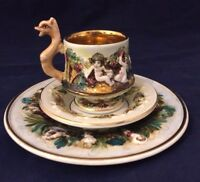 Fabulous Vintage Capodimonte Italy Cup and Saucer Trio Set
