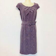 ADRIANNA PAPPEL Dress Purple Plum Belted Sheath Lined Sleeveless Size 8