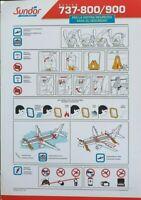 Sundor Airline Rare Safety Card Boeing 737-800/900 Italian Version