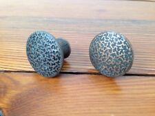 Set Pair 2 Vtg Antique Copper Metal Round Textured Knobs Cabinet Drawer Pulls