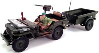 New in Box Diecast Cararama 1/43 1/4 Ton Jeep Military Vehicle with Trailer